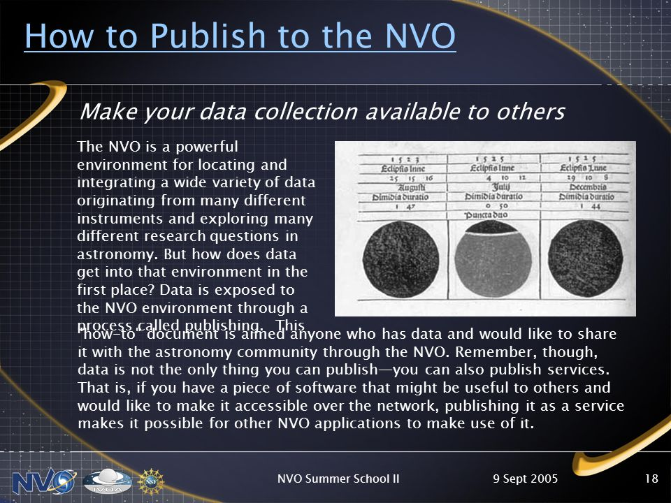 9 Sept 2005NVO Summer School II18 How to Publish to the NVO Make your data collection available to others how-to document is aimed anyone who has data and would like to share it with the astronomy community through the NVO.