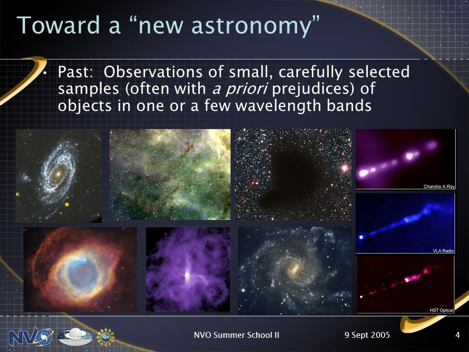 9 Sept 2005NVO Summer School II4 Toward a new astronomy Past: Observations of small, carefully selected samples (often with a priori prejudices) of objects in one or a few wavelength bands