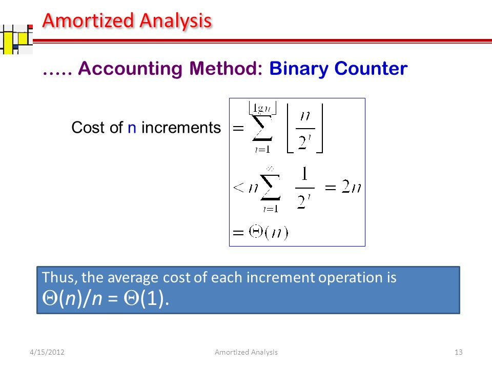 Cost of n increments Thus, the average cost of each increment operation is (n)/n = (1).