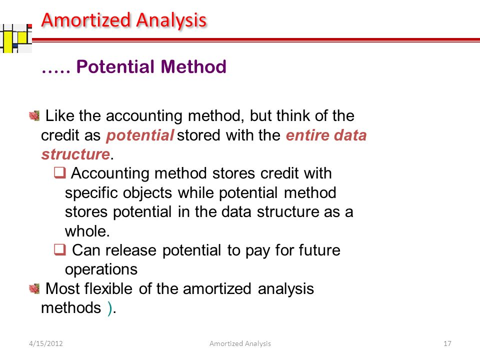 Like the accounting method, but think of the credit as potential stored with the entire data structure.