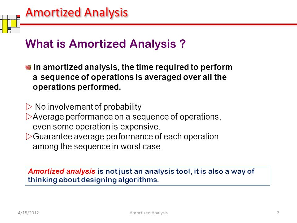 Amortized Analysis What is Amortized Analysis .