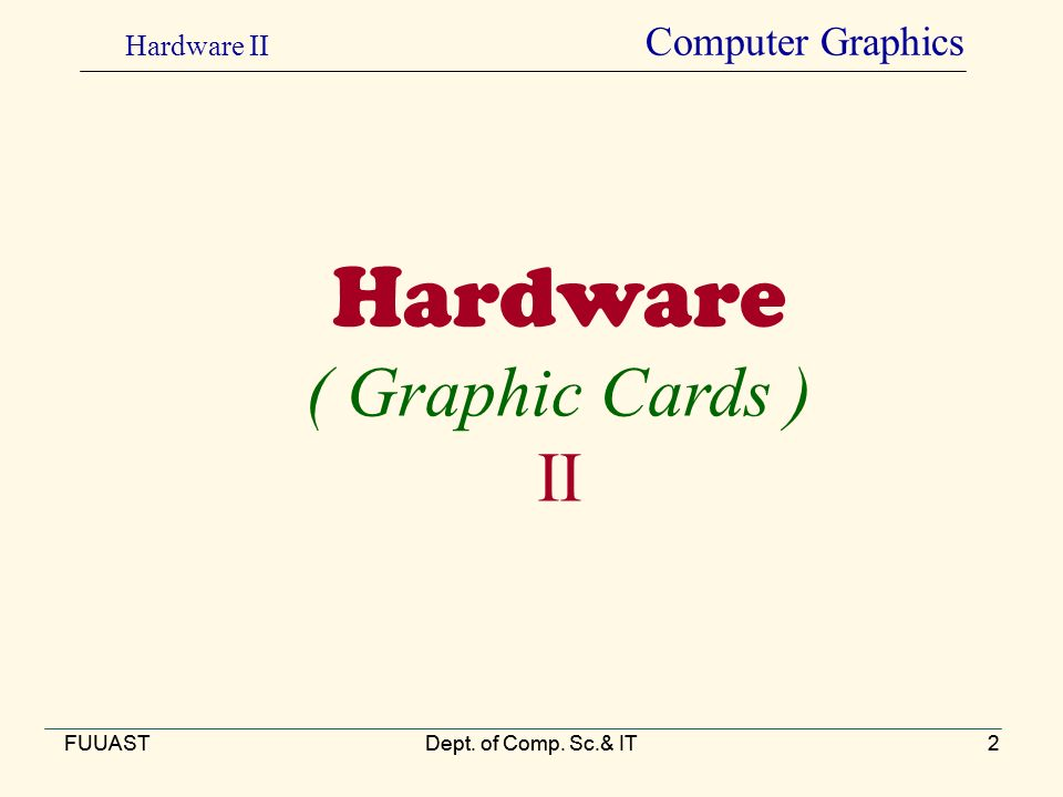 FUUASTDept. of Comp. Sc.& IT2 Hardware ( Graphic Cards ) II FUUASTDept.