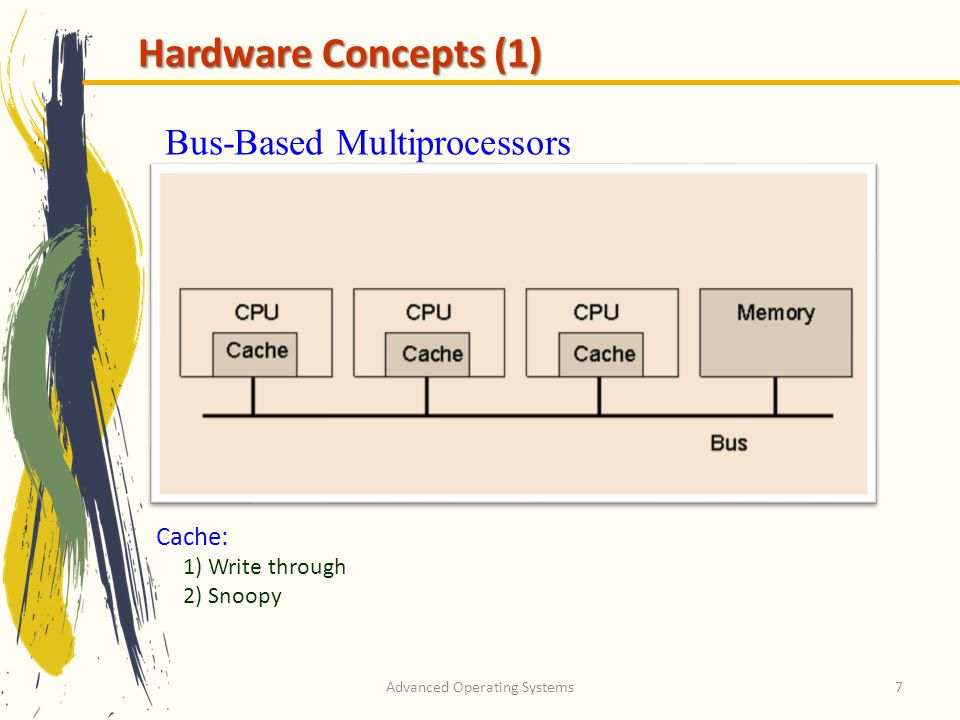Advanced Operating Systems7 Hardware Concepts (1) Bus-Based Multiprocessors Cache: 1) Write through 2) Snoopy