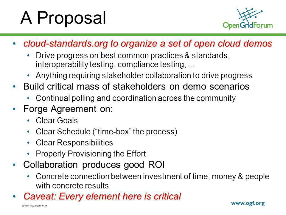 © 2009 OpenGridForum A Proposal cloud-standards.org to organize a set of open cloud demos cloud-standards.org to organize a set of open cloud demos Drive progress on best common practices & standards, interoperability testing, compliance testing,...
