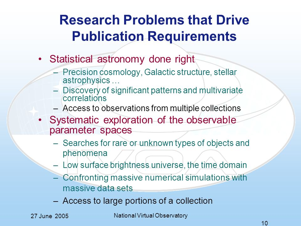27 June 2005 National Virtual Observatory 10 Research Problems that Drive Publication Requirements Statistical astronomy done right –Precision cosmology, Galactic structure, stellar astrophysics … –Discovery of significant patterns and multivariate correlations –Access to observations from multiple collections Systematic exploration of the observable parameter spaces –Searches for rare or unknown types of objects and phenomena –Low surface brightness universe, the time domain –Confronting massive numerical simulations with massive data sets –Access to large portions of a collection