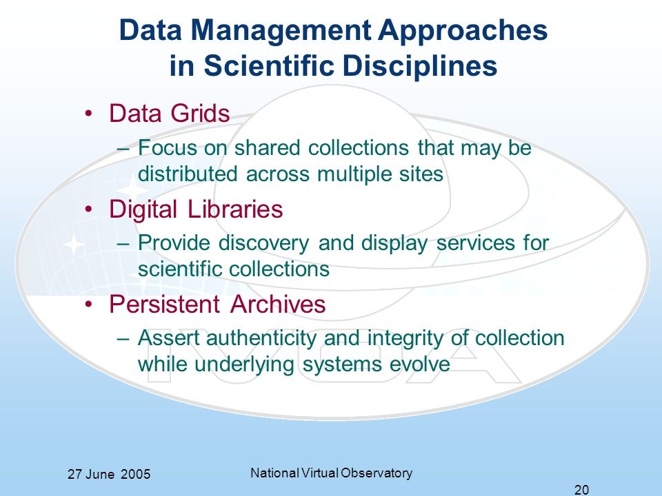 27 June 2005 National Virtual Observatory 20 Data Management Approaches in Scientific Disciplines Data Grids –Focus on shared collections that may be distributed across multiple sites Digital Libraries –Provide discovery and display services for scientific collections Persistent Archives –Assert authenticity and integrity of collection while underlying systems evolve