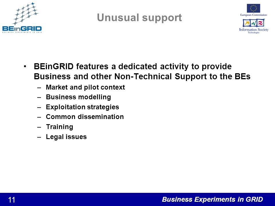 Business Experiments in GRID 11 Unusual support BEinGRID features a dedicated activity to provide Business and other Non-Technical Support to the BEs –Market and pilot context –Business modelling –Exploitation strategies –Common dissemination –Training –Legal issues
