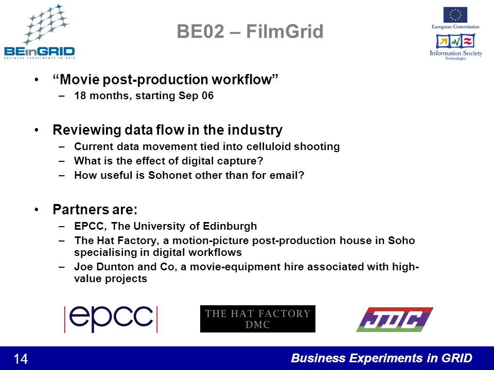 Business Experiments in GRID 14 BE02 – FilmGrid Movie post-production workflow –18 months, starting Sep 06 Reviewing data flow in the industry –Current data movement tied into celluloid shooting –What is the effect of digital capture.