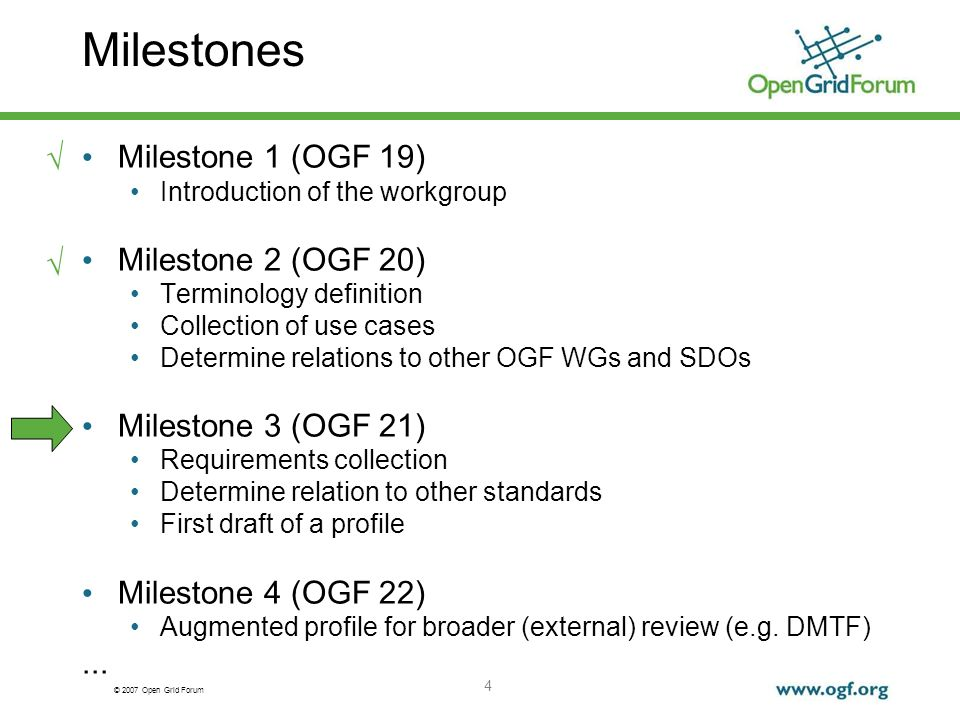 © 2007 Open Grid Forum 4 Milestones Milestone 1 (OGF 19) Introduction of the workgroup Milestone 2 (OGF 20) Terminology definition Collection of use cases Determine relations to other OGF WGs and SDOs Milestone 3 (OGF 21) Requirements collection Determine relation to other standards First draft of a profile Milestone 4 (OGF 22) Augmented profile for broader (external) review (e.g.