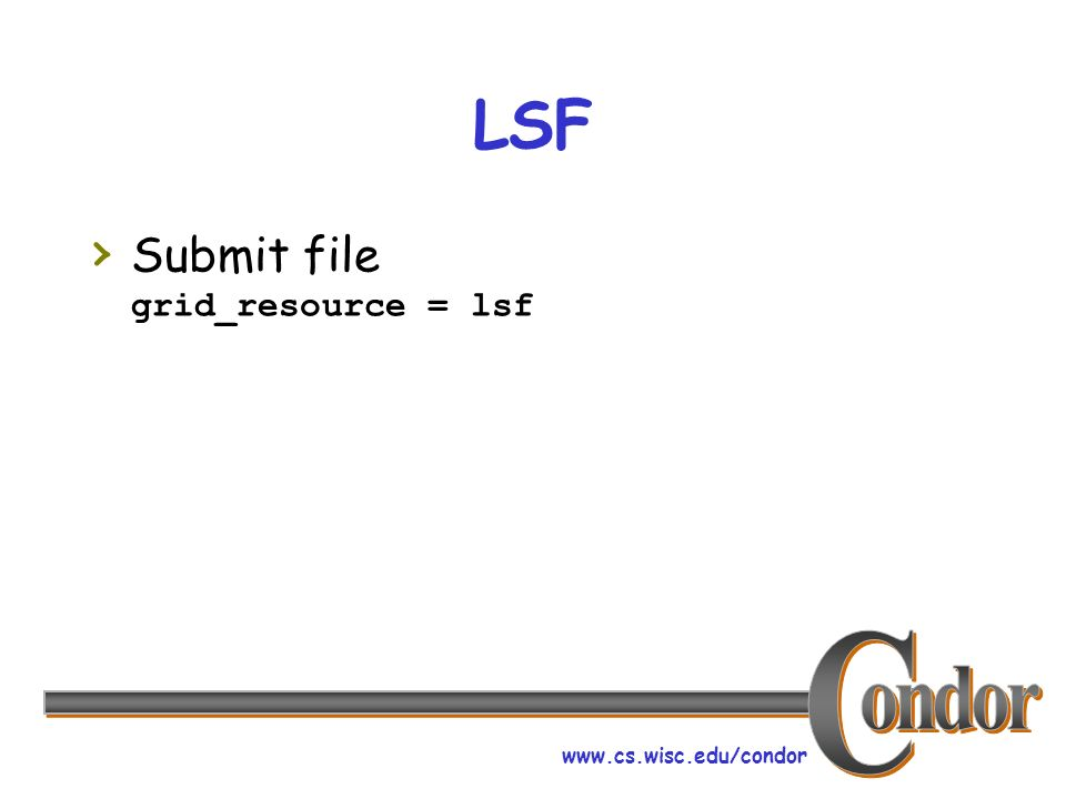 www.cs.wisc.edu/condor LSF Submit file grid_resource = lsf