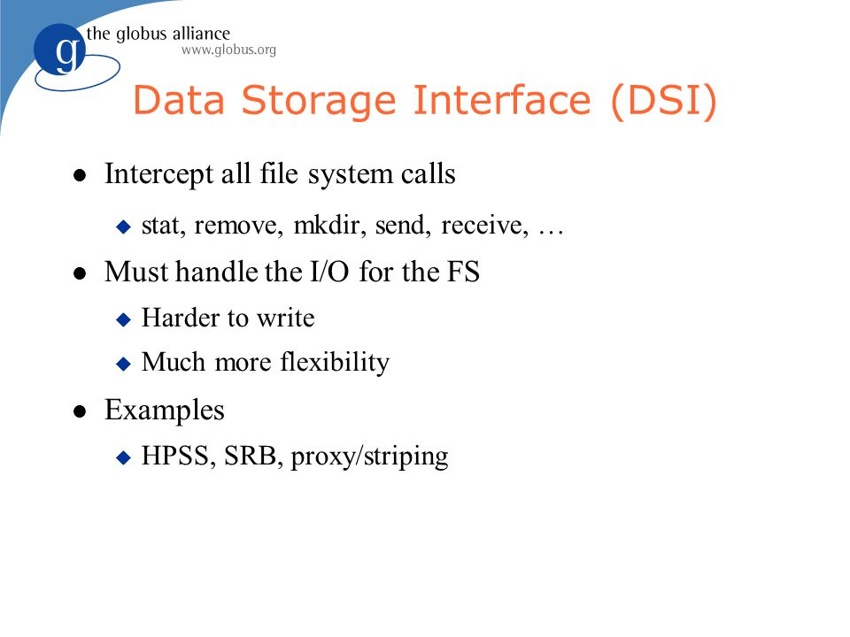 Data Storage Interface (DSI) Intercept all file system calls stat, remove, mkdir, send, receive, … Must handle the I/O for the FS Harder to write Much more flexibility Examples HPSS, SRB, proxy/striping