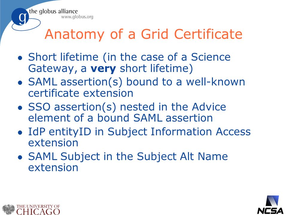 Anatomy of a Grid Certificate l Short lifetime (in the case of a Science Gateway, a very short lifetime) l SAML assertion(s) bound to a well-known certificate extension l SSO assertion(s) nested in the Advice element of a bound SAML assertion l IdP entityID in Subject Information Access extension l SAML Subject in the Subject Alt Name extension