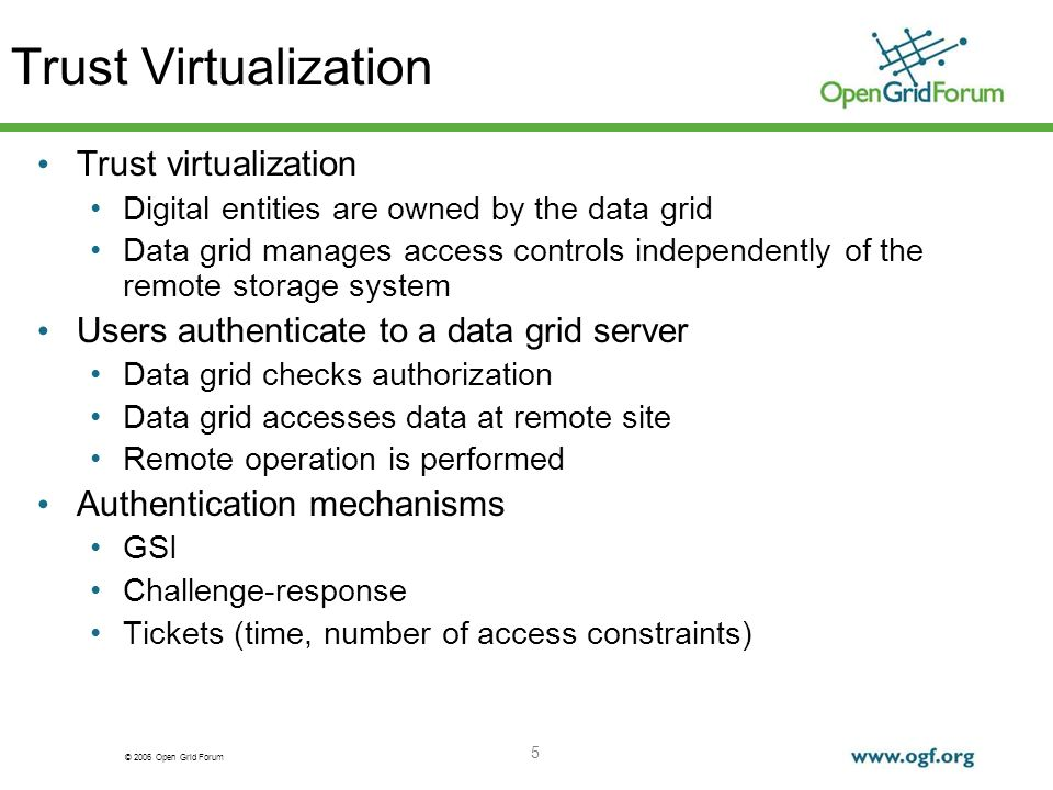 © 2006 Open Grid Forum 5 Trust Virtualization Trust virtualization Digital entities are owned by the data grid Data grid manages access controls independently of the remote storage system Users authenticate to a data grid server Data grid checks authorization Data grid accesses data at remote site Remote operation is performed Authentication mechanisms GSI Challenge-response Tickets (time, number of access constraints)