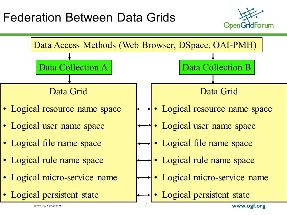 © 2006 Open Grid Forum 7 Federation Between Data Grids Data Grid Logical resource name space Logical user name space Logical file name space Logical rule name space Logical micro-service name Logical persistent state Data Collection B Data Access Methods (Web Browser, DSpace, OAI-PMH) Data Grid Logical resource name space Logical user name space Logical file name space Logical rule name space Logical micro-service name Logical persistent state Data Collection A