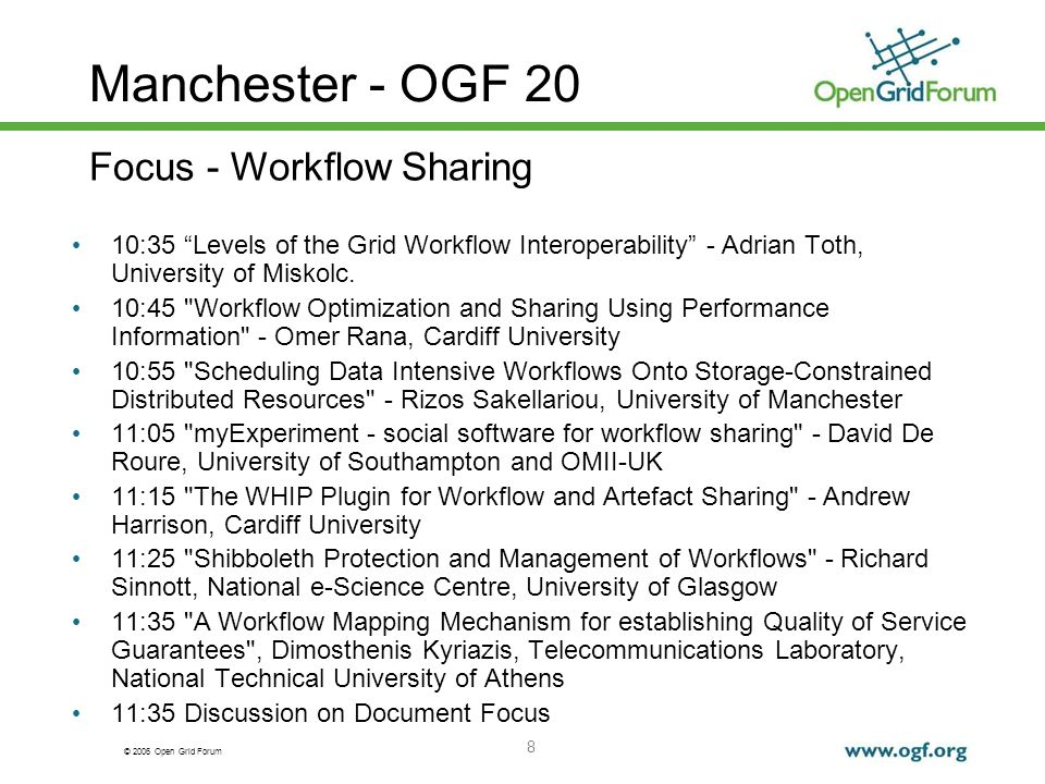 © 2006 Open Grid Forum 8 Manchester - OGF 20 10:35 Levels of the Grid Workflow Interoperability - Adrian Toth, University of Miskolc.