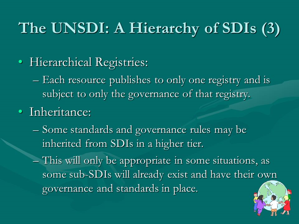 The UNSDI: A Hierarchy of SDIs (3) Hierarchical Registries:Hierarchical Registries: –Each resource publishes to only one registry and is subject to only the governance of that registry.