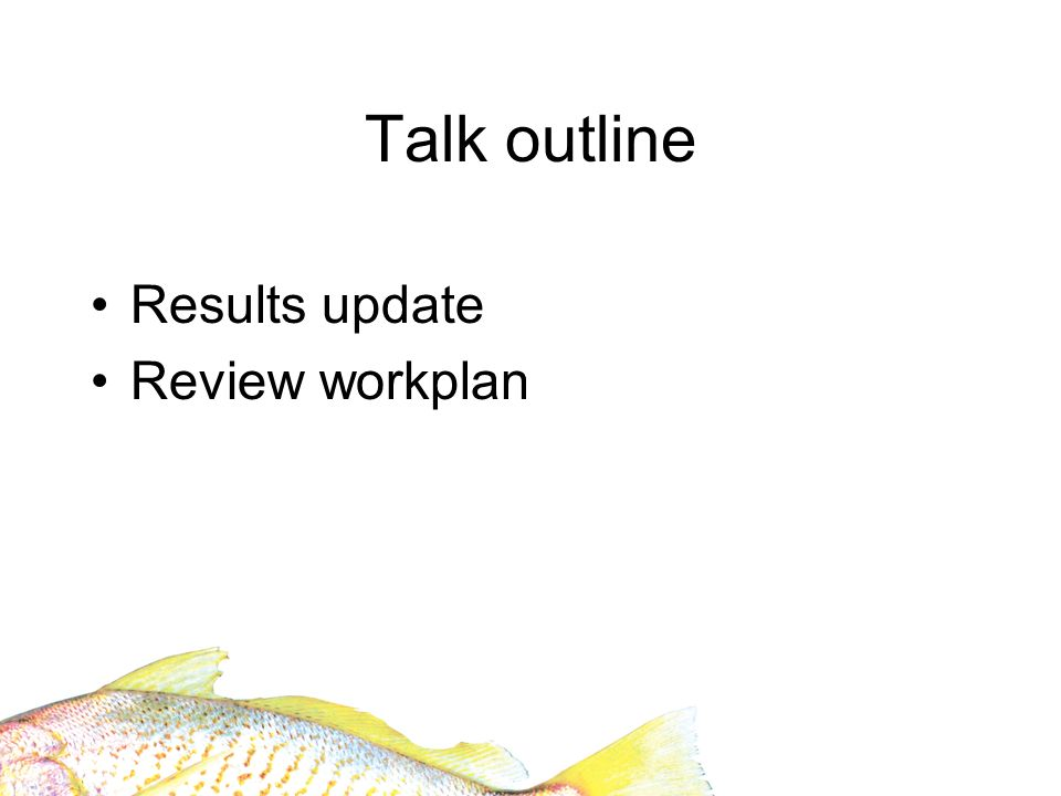 Talk outline Results update Review workplan