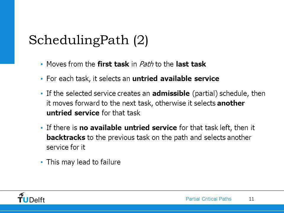 11 Partial Critical Paths SchedulingPath (2) Moves from the first task in Path to the last task For each task, it selects an untried available service If the selected service creates an admissible (partial) schedule, then it moves forward to the next task, otherwise it selects another untried service for that task If there is no available untried service for that task left, then it backtracks to the previous task on the path and selects another service for it This may lead to failure