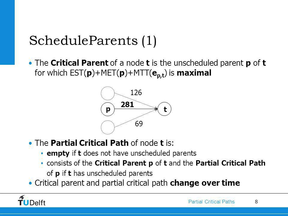 8 Partial Critical Paths ScheduleParents (1) The Critical Parent of a node t is the unscheduled parent p of t for which EST(p)+MET(p)+MTT(e p,t ) is maximal The Partial Critical Path of node t is: empty if t does not have unscheduled parents consists of the Critical Parent p of t and the Partial Critical Path of p if t has unscheduled parents Critical parent and partial critical path change over time p t 126 69 281