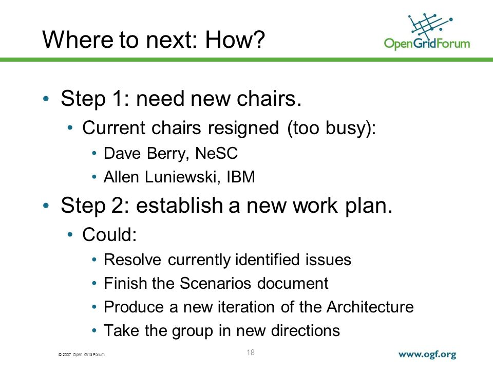 © 2007 Open Grid Forum Where to next: How. Step 1: need new chairs.