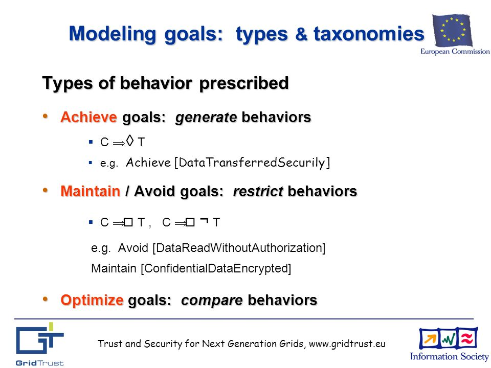 Trust and Security for Next Generation Grids, www.gridtrust.eu Modeling goals: types & taxonomies Types of behavior prescribed Achieve goals: generate behaviors Achieve goals: generate behaviors C T e.g.