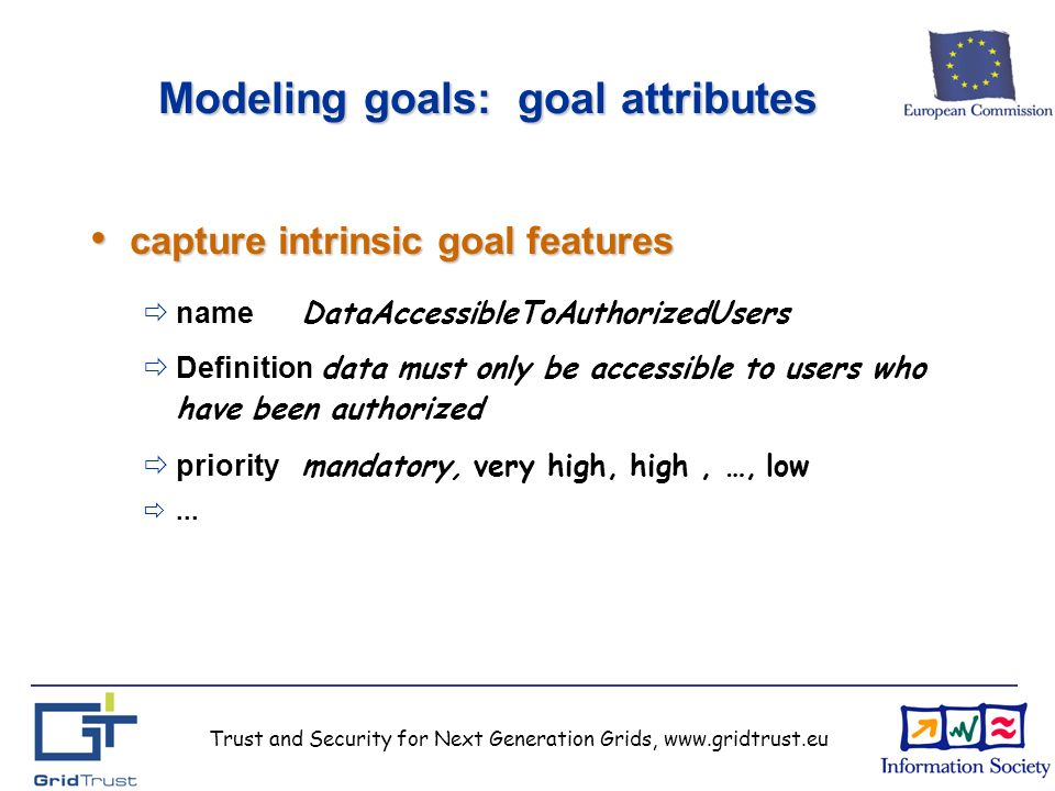 Trust and Security for Next Generation Grids, www.gridtrust.eu Modeling goals: goal attributes capture intrinsic goal features capture intrinsic goal features name DataAccessibleToAuthorizedUsers Definition data must only be accessible to users who have been authorized priority mandatory, very high, high, …, low...