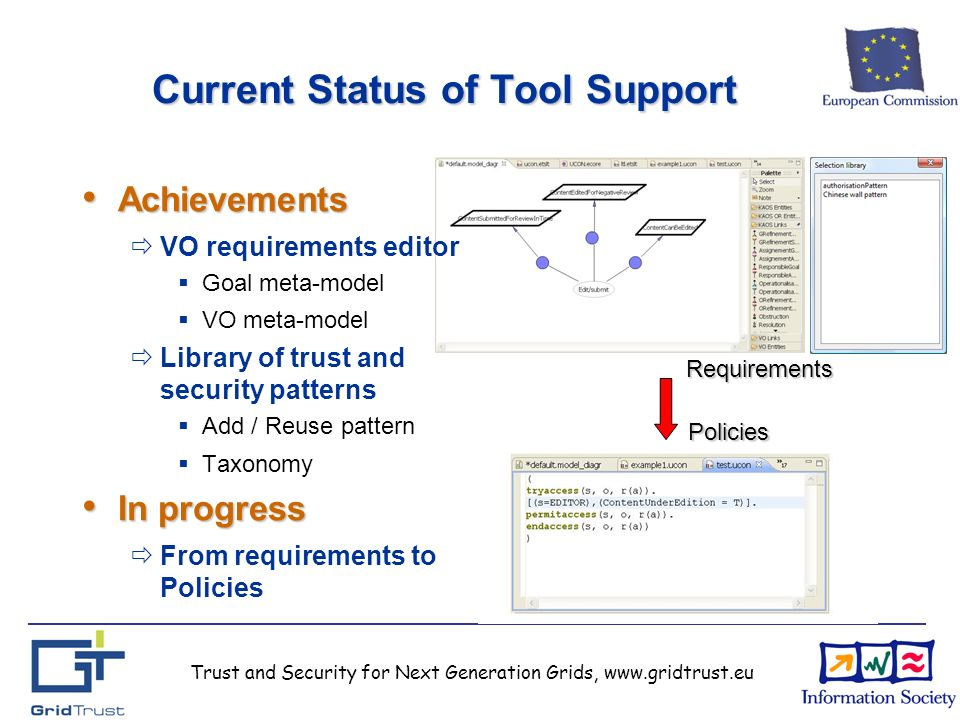 Trust and Security for Next Generation Grids, www.gridtrust.eu Current Status of Tool Support Requirements Policies Achievements Achievements VO requirements editor Goal meta-model VO meta-model Library of trust and security patterns Add / Reuse pattern Taxonomy In progress In progress From requirements to Policies