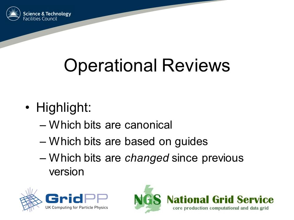 Operational Reviews Highlight: –Which bits are canonical –Which bits are based on guides –Which bits are changed since previous version