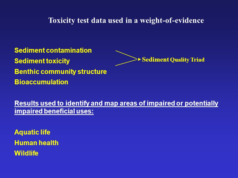 Sediment contamination Sediment toxicity Benthic community structure Bioaccumulation Results used to identify and map areas of impaired or potentially impaired beneficial uses: Aquatic life Human health Wildlife Sediment Quality Triad Toxicity test data used in a weight-of-evidence