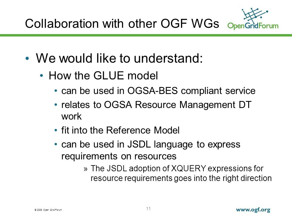 © 2006 Open Grid Forum 11 Collaboration with other OGF WGs We would like to understand: How the GLUE model can be used in OGSA-BES compliant service relates to OGSA Resource Management DT work fit into the Reference Model can be used in JSDL language to express requirements on resources »The JSDL adoption of XQUERY expressions for resource requirements goes into the right direction