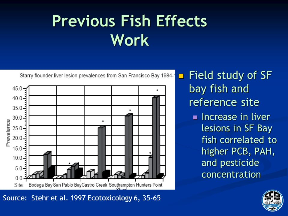 Previous Fish Effects Work Field study of SF bay fish and reference site Field study of SF bay fish and reference site Increase in liver lesions in SF Bay fish correlated to higher PCB, PAH, and pesticide concentration Increase in liver lesions in SF Bay fish correlated to higher PCB, PAH, and pesticide concentration Source: Stehr et al.