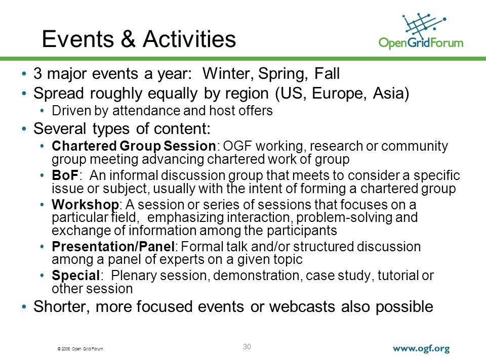 © 2006 Open Grid Forum 30 Events & Activities 3 major events a year: Winter, Spring, Fall Spread roughly equally by region (US, Europe, Asia) Driven by attendance and host offers Several types of content: Chartered Group Session: OGF working, research or community group meeting advancing chartered work of group BoF: An informal discussion group that meets to consider a specific issue or subject, usually with the intent of forming a chartered group Workshop: A session or series of sessions that focuses on a particular field, emphasizing interaction, problem-solving and exchange of information among the participants Presentation/Panel: Formal talk and/or structured discussion among a panel of experts on a given topic Special: Plenary session, demonstration, case study, tutorial or other session Shorter, more focused events or webcasts also possible