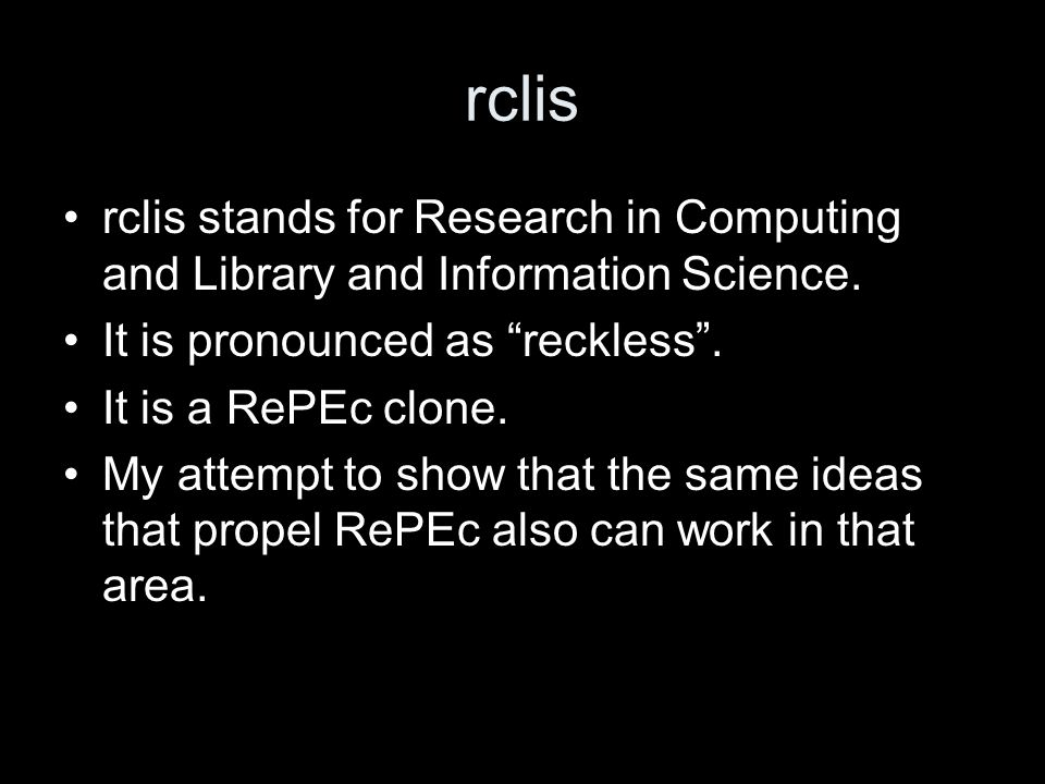 rclis rclis stands for Research in Computing and Library and Information Science.