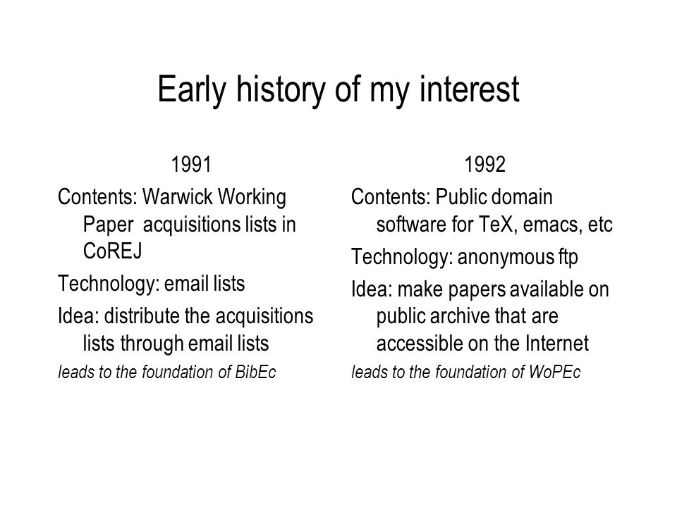 Early history of my interest 1991 Contents: Warwick Working Paper acquisitions lists in CoREJ Technology: email lists Idea: distribute the acquisitions lists through email lists leads to the foundation of BibEc 1992 Contents: Public domain software for TeX, emacs, etc Technology: anonymous ftp Idea: make papers available on public archive that are accessible on the Internet leads to the foundation of WoPEc