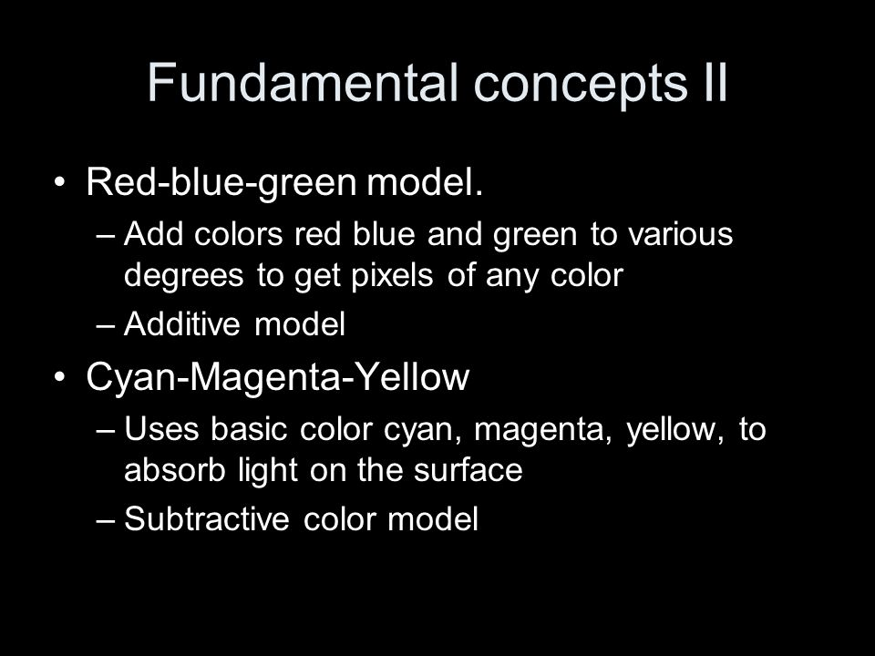Fundamental concepts II Red-blue-green model.