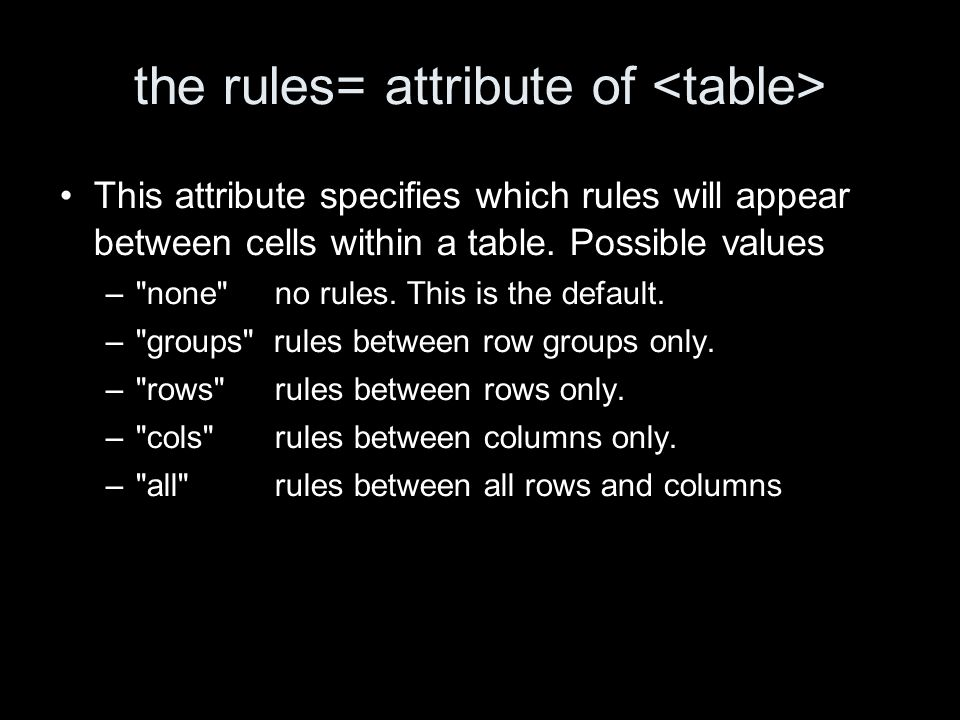 the rules= attribute of This attribute specifies which rules will appear between cells within a table.