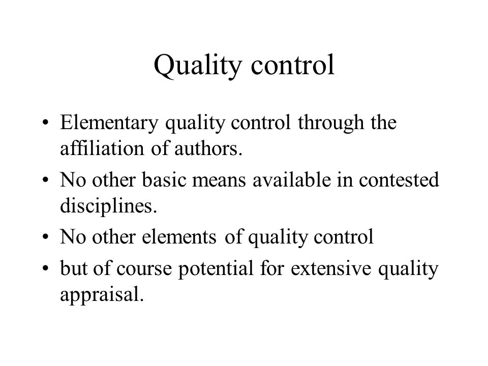 Quality control Elementary quality control through the affiliation of authors.