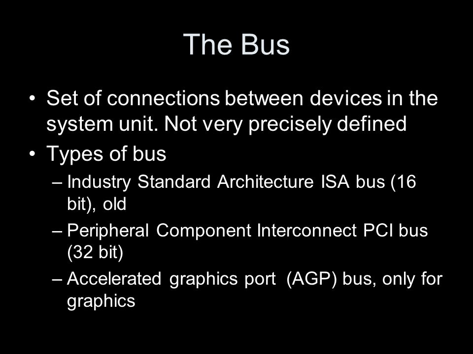 The Bus Set of connections between devices in the system unit.