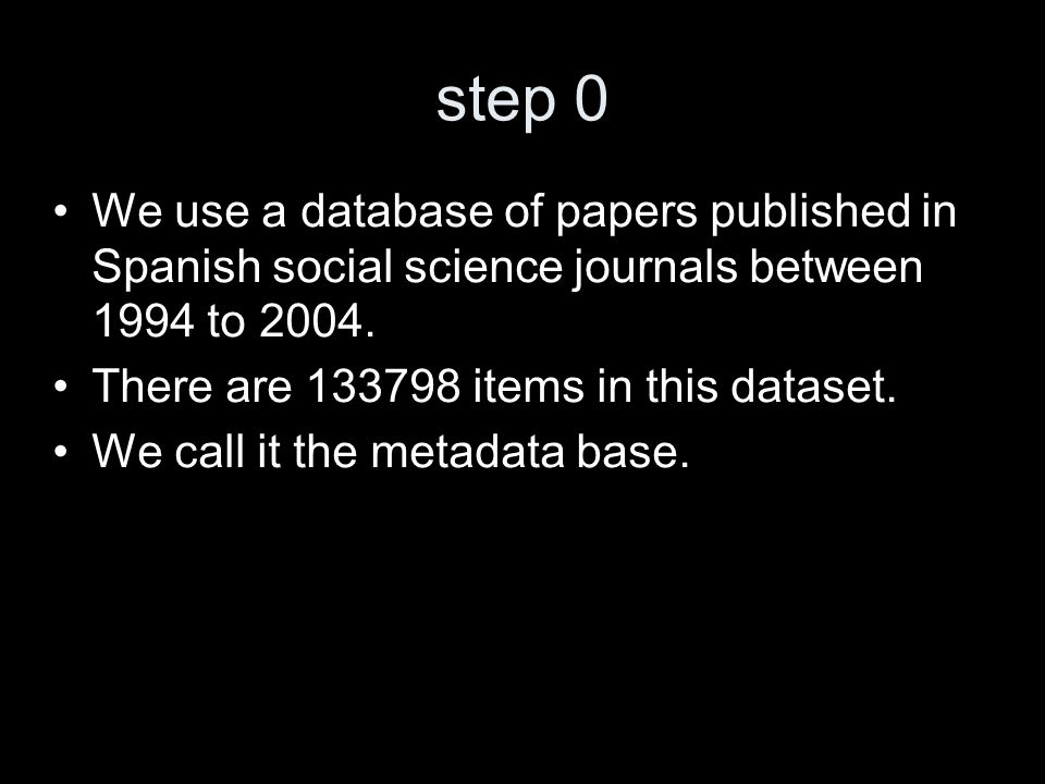 step 0 We use a database of papers published in Spanish social science journals between 1994 to 2004.