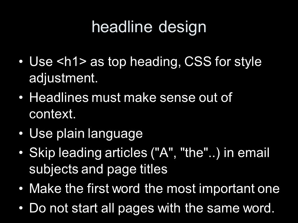headline design Use as top heading, CSS for style adjustment.
