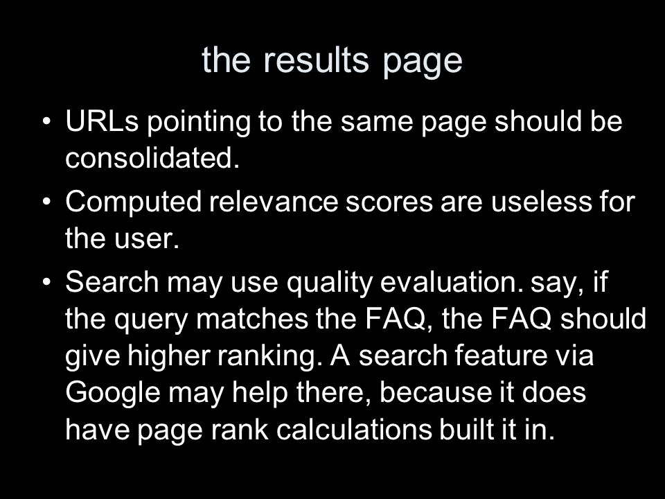 the results page URLs pointing to the same page should be consolidated.