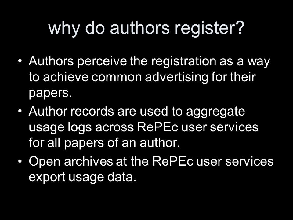 why do authors register.