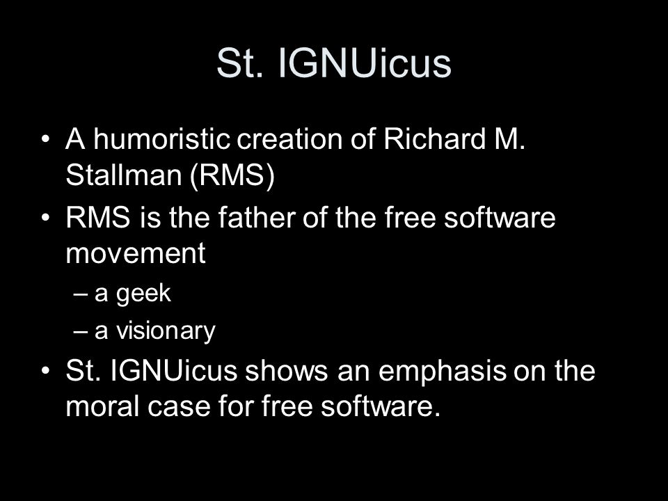 St. IGNUicus A humoristic creation of Richard M.