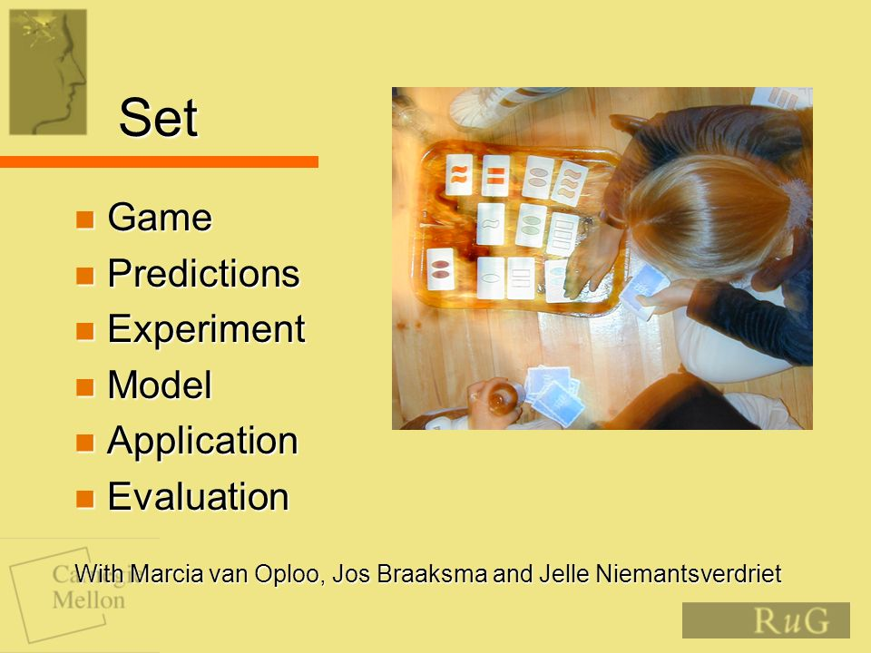 Set Game Game Predictions Predictions Experiment Experiment Model Model Application Application Evaluation Evaluation With Marcia van Oploo, Jos Braaksma and Jelle Niemantsverdriet