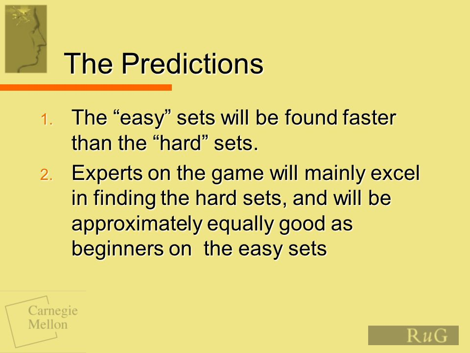 The Predictions 1. The easy sets will be found faster than the hard sets.