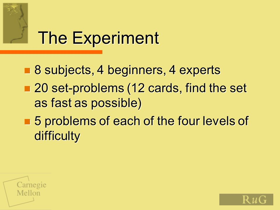 The Experiment 8 subjects, 4 beginners, 4 experts 8 subjects, 4 beginners, 4 experts 20 set-problems (12 cards, find the set as fast as possible) 20 set-problems (12 cards, find the set as fast as possible) 5 problems of each of the four levels of difficulty 5 problems of each of the four levels of difficulty