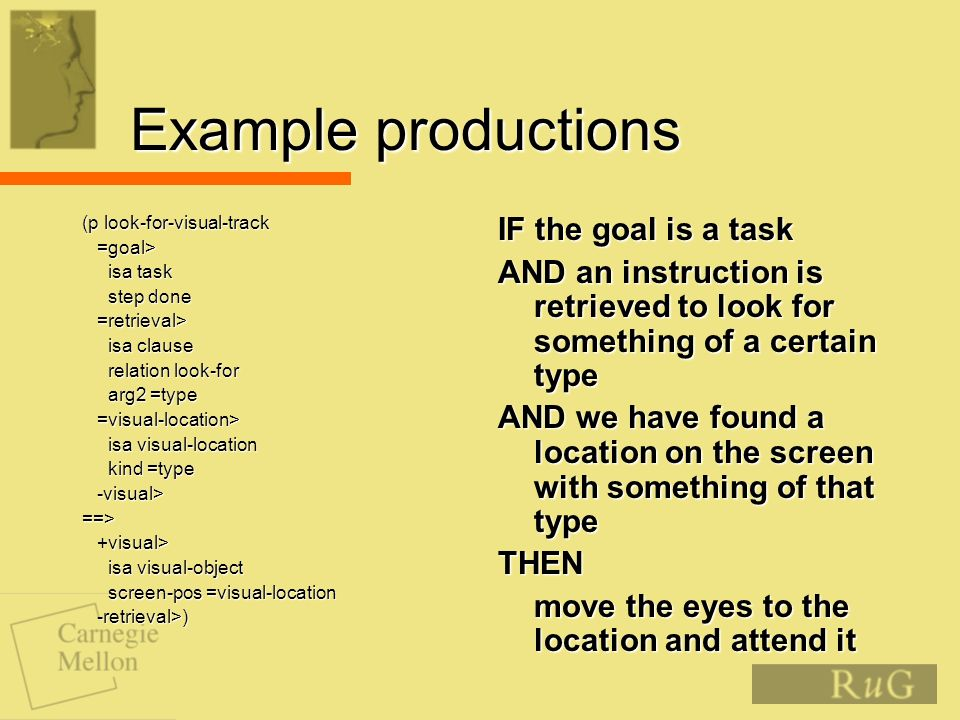 Example productions (p look-for-visual-track =goal> =goal> isa task isa task step done step done =retrieval> =retrieval> isa clause isa clause relation look-for relation look-for arg2 =type arg2 =type =visual-location> =visual-location> isa visual-location isa visual-location kind =type kind =type -visual> -visual>==> +visual> +visual> isa visual-object isa visual-object screen-pos =visual-location screen-pos =visual-location -retrieval>) -retrieval>) IF the goal is a task AND an instruction is retrieved to look for something of a certain type AND we have found a location on the screen with something of that type THEN move the eyes to the location and attend it