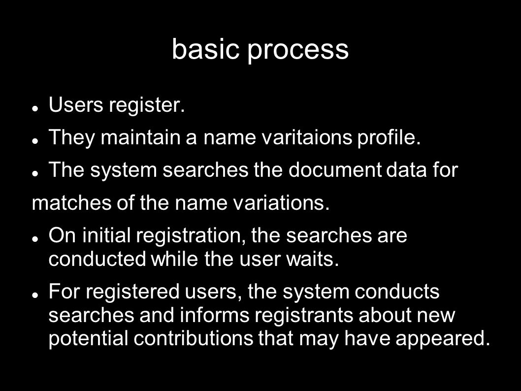 basic process Users register. They maintain a name varitaions profile.