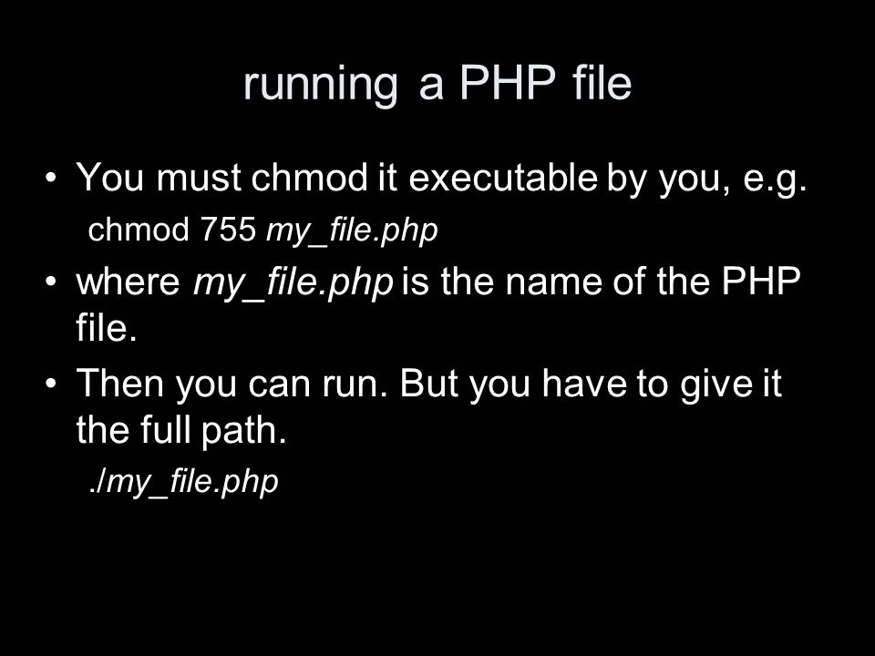 running a PHP file You must chmod it executable by you, e.g.