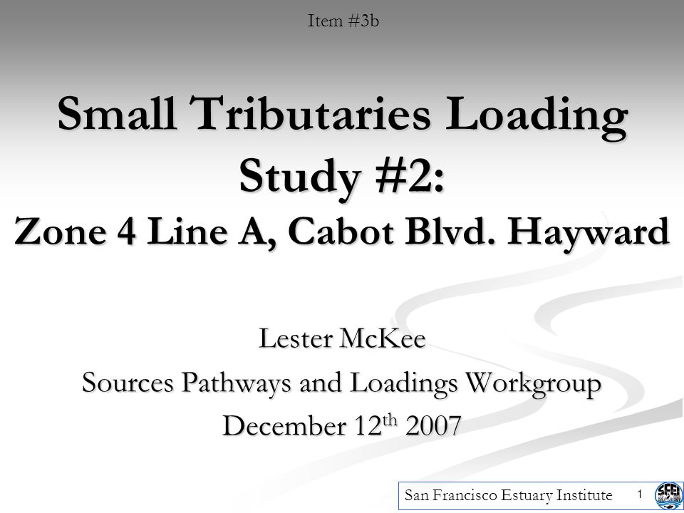 1 Small Tributaries Loading Study #2: Zone 4 Line A, Cabot Blvd.